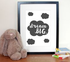 Customisable Dream Big Cloud Nursery Art - Monochrome Nursery Decor