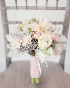 blush pink rose and dahlia bouquet with dusty miller and brunia berries