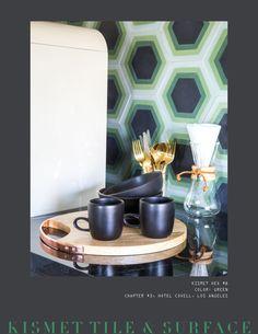 "8 x 9"" hexagonal cement tile; color customizable. Installation: HOTEL COVELL, Los Angeles. Surface Design, Cement, Tiles, Carpet, Interior Design, Architecture, Color, Home Decor, Room Tiles"