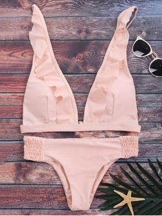 Ruffles Plunge Bathing Suit - PINK L Mobile