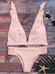 $14.99 Ruffles Plunge Bathing Suit - PINK S