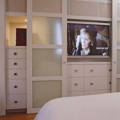 sliding doors to hide TV