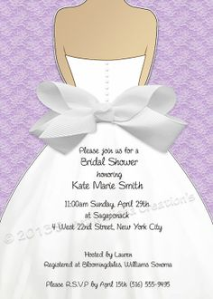 DIY Printable Bridal Shower Invitation Lace & Bow Design. Pink, Blue, Purple