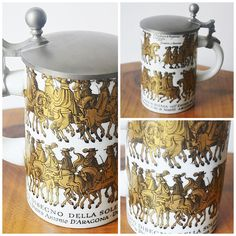 Beer Stein With Italian Depiction, Stein With Pewter Lid, Stein With Depiction of 1671 Engraving  #VintageBeerStein #SteinPewterLid #ItalianDepiction #WhiteAndGoldStein #CollectibleStein #MadeInGermany #BeerStein #BeerMug #CollectibleMug #LiddedBeerStein   www.collectitorium.com