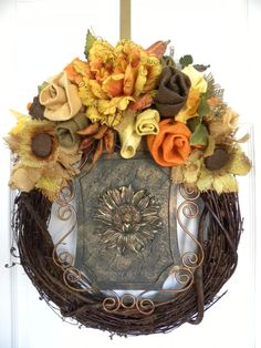 Grapevine  Wreath with Sunflowers by jddesigns2319 on Etsy, $42.00(I like the flowers)