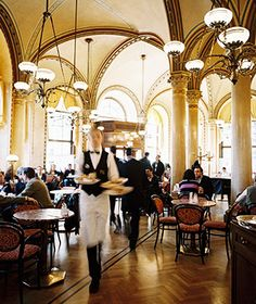Cafe Central, Vienna-137 years with habitués like Freud, Lenin, and Trotsky—the utterly grand café inside the majestic Palais Ferstel is known among pastry-obsessed Wieners for serving the best, flakiest strudel in town.
