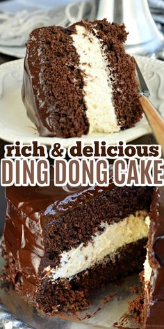This Copycat Hostess Ding Dong Cake recipe is a rich, decadent chocolate cake, with a creamy filling and chocolate ganache spread over the top! So easy, you'll love it! easy 3 ingredients easy for a crowd easy healthy easy party easy quick easy simple Easy Cake Recipes, Cupcake Recipes, Easy Desserts, Sweet Recipes, Cupcake Cakes, Dessert Recipes, Cupcakes, Delicious Cake Recipes, Hostess Cupcake Cake Recipe