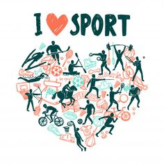 Buy Love Sport Concept by macrovector on GraphicRiver. Love sport concept with hand drawn athletes in hears shape vector illustration. Editable EPS and Render in JPG format Vector Photo, Love Images, Graphic Design Typography, Vector Graphics, Vector Design, Adobe Illustrator, Free Design, Doodle, How To Draw Hands