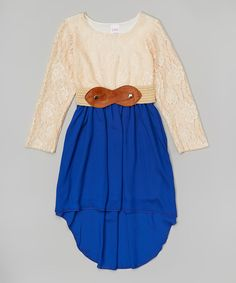 Look what I found on #zulily! Cream Lace & Royal Hi-Low Dress - Girls by Forever Princess #zulilyfinds