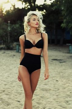 Black high waisted bikini vintage - could definitely wear this, would hide the parts i don't like but still looks sexy Black High Waisted Bikini, Black Bikini, Hot Bikini, Black Swimsuit, High Waist Bikini, Bikini Swimsuit, Vintage High Waisted Bikini, Swim Suit High Waisted, Black Bra