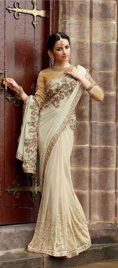 Off White Net Floral Patch Work Wedding Saree 40313
