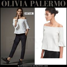 Olivia Palermo in white off shoulder ruffle sleeves top banana republic holiday picks 2016