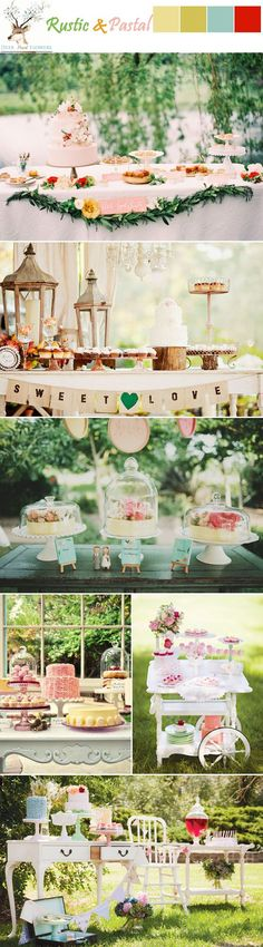 rustic pastel green red pink blue wedding dessert table ideas by fani geor Party Fiesta, Festa Party, Wedding Desserts, Wedding Cakes, Wedding Decorations, Stage Patisserie, Table Turquoise, Vintage Turquoise, Wedding Table