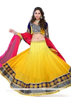 Sensible colors and excellent designs and romantic moods are reflected with an alluring style. Look ethnic in this affluent yellow georgette a line lehenga choli. The embroidered and patch border work...