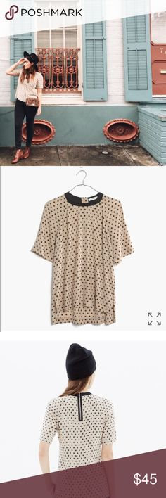 Madewell silk tee Adorable cream and black polka dot silk tee. Partial zip back with fun swingy feel. Equal parts structured and artsy. Dry cleaning tag still attached. Madewell Tops Blouses