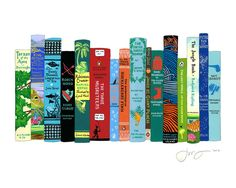 "This website offers really, neat prints of bookshelves.  ""Ideal Bookshelf 670: Adventures"" by Jane Mount (www.idealbookshelf.com)"