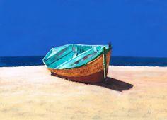 Blue boat - pastel