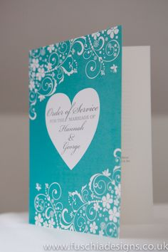Wedding stationery. Typography Heart Collection order of service in tiffany blue.  www.fuschiadesigns.co.uk