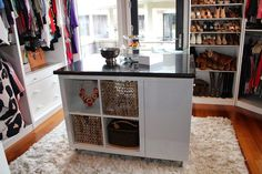A true dream closet has not only tons of shelves, but also surfaces and receptacles designed to stow and show off accessories like jewelry, sunglasses, and hats. We're in love with blogger XO, Jordan's DIY closet, which she built by adding legs to simple shelving cubes from Ikea, topped off with a slab of granite she scored on Craigslist for $60.