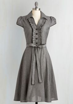 About the Artist Dress in Grey. This delightful grey shirtdress grew up dreaming about one day becoming a fashion icon. #grey #modcloth