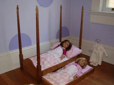 "18"" Doll Trundle Bed With Canopy Woodworking Plans And Instructions"