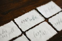 inspiration | calligraphy place cards | via: feast