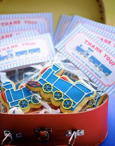 All Aboard! Train Party Thank You Cookies - A delicious way to thank your mini party guests!