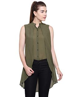 f49d2005475d4b POISON IVY Women s Casual Chiffon Layered Sleeveless Elegant High-Low Top   Amazon.in  Clothing   Accessories