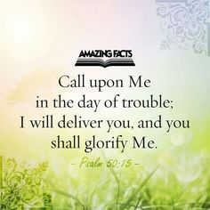 Call upon Me in the day of trouble; I will deliver you, and you shall glorify Me.  ~ Psalm 50:15