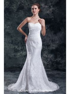 Tulle Sweetheart Neckline Sweep Train Mermaid Embroidered Wedding Dress