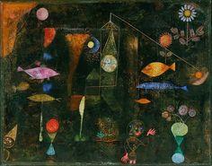 - Bauhaus  - Fish Zauber, ou em inglês, Fish Magic 1925  - Paul Klee - Simplificação dos volumes, geometrização das formas: predomínio das linhas rectas, sólidos geométricos