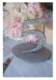 we ❤ this!  moncheribridals.com  #glitterweddingtablenumbers