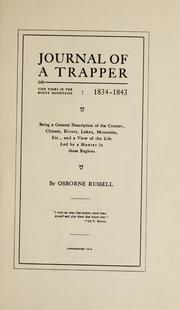 Lesson Plans Osborne Russells Journal of a Trapper: Edited from the Original