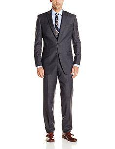 Calvin Klein Men's Check Plaid 2 Button Side Vent Slim Fit Suit