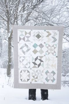 HST quilt in the snow  Same HST BOM series from Jeni (In Color Order?) that i've pinned already- this low-volume color scheme is unique and I like it!