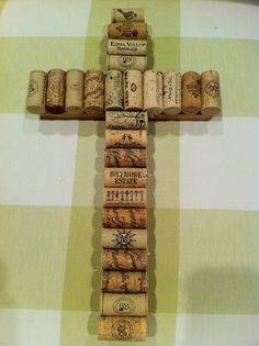Wine cork and reclaimed wood cross by GinnyLinnyArt on Etsy, $18.00 this would good on our cross wall!!