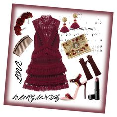 """Burgundy Love."" by babett-beattie on Polyvore featuring Mode, self-portrait, Dsquared2, Dolce&Gabbana, Rock 'N Rose, AGNELLE, Beauty Is Life und Chanel"