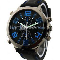 Herren Militäruhr / Armbanduhr Japanischer Quartz Silikon Band Schwarz Marke 2016 - €7.83