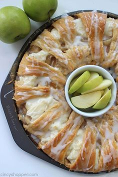 Caramel Apple Cream Cheese Crescent Ring - loaded with apples, cinnamon, cream…