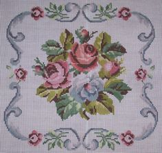 This Pin was discovered by Nur Cross Stitch Pillow, Cross Stitch Rose, Cross Stitch Borders, Cross Stitch Flowers, Cross Stitch Charts, Cross Stitch Designs, Cross Stitching, Cross Stitch Patterns, Ribbon Embroidery