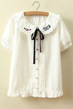 Delicate Peter Pan Collar Short Sleeve Button Down Chic Lady's Blouse