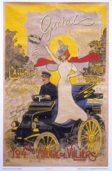 Poster advertising car coachwork, 1899. Artist: Maurice Neumont.   Nice Hat!