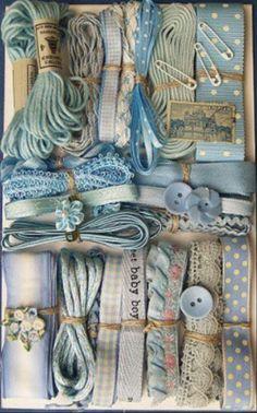 Light Blue Crazy Quilt Embellishment Assortment - vintage and new ribbons, trim, lace, buttons, embroidery thread Crazy Quilting, Lace Ribbon, Ribbon Embroidery, Costura Vintage, Little Mercerie, Vintage Accessoires, Vintage Sewing Notions, Passementerie, Linens And Lace