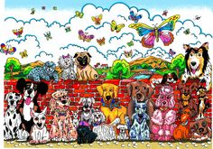 """Charles Fazzino """"It's A Dog Day Afternoon"""" 3-D Serigraph 12.5"""" x 9"""""""