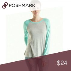 🎁Holiday Sale🎁Colorblock Raglan Sleeve Top Mint and grey colorblock top.  96% rayon 4% spandex.  Made in the USA 🇺🇸  More pics to come. Fashionomics Tops Tees - Long Sleeve