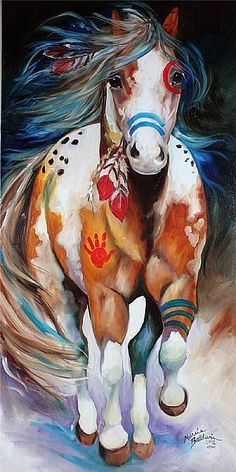 BRAVE ~ the INDIAN WAR HORSE - by Marcia Baldwin from Animal Wildlife Art Gallery Wow What a beautiful horse. I love these horses - this would not scare me though. Native American Horses, Native American Paintings, Native American Nursery, American Indians, Native American Drawing, Native American Tattoos, Native American Decor, Native American Warrior, Running Art