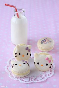 Ain't nobody got time fo that! Kue Hello Kitty, Hello Kitty Cake, Hello Kitty Birthday, Macarons, Macaroon Cookies, Cupcake Cookies, Desserts Japonais, Cake Pops, Fancy Cookies