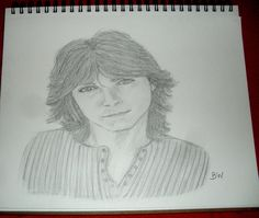 DAVID CASSIDY/GRAPHITE PENCIL DRAWING SIGNED BY ARTIST BW #Realism