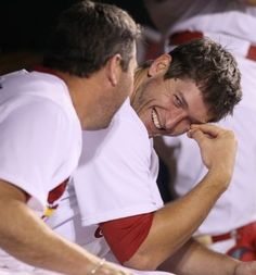 Love it when they catch those dugout smiles! - Freese & Berkman