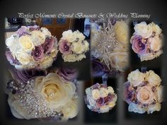 Eva cream & vintage lilac brooch & crystal bouquets